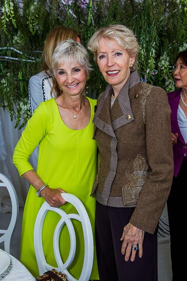 Gail Glasser and Barbara Brookins-Schneider at the AAU fashion luncheon on May 08, 2013. Photo: Drew Altizer Photography