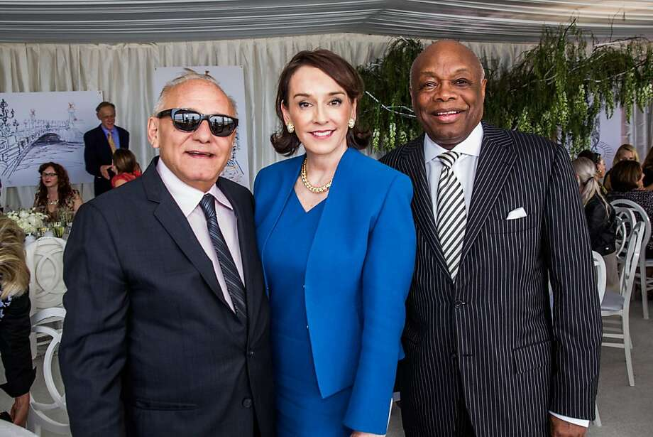 Max Azria, Elisa Stephens and Willie Brown at the AAU fashion luncheon on May 08, 2013. Photo: Drew Altizer Photography