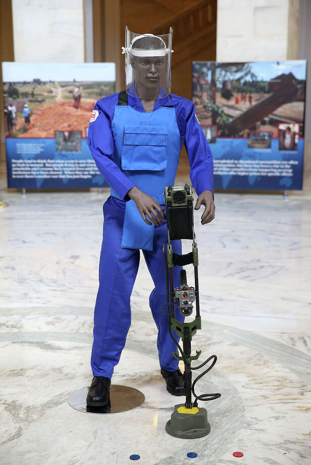 A mannequin is positioned as part of an anti-landmine photography exhibition by The HALO Trust charity during the first day of HRH Prince Harry's visit to the United States at the Russell Senate Office Building on May 9, 2013 in Washington, DC. HRH will be undertaking engagements on behalf of charities with which the Prince is closely associated on behalf also of HM Government, with a central theme of supporting injured service personnel from the UK and US forces. Photo: Chris Jackson, Getty Images / 2013 Getty Images