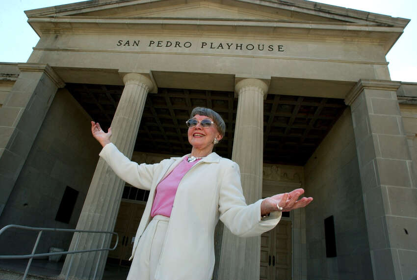 Mary Denman, an icon in the broadcasting industry, shown June 9, 2002, in front of the San Pedro Playhouse. Her board service at San Pedro Playhouse spanned many years. She also chaired the capital campaign committee which renovated and restored the 70-plus year old Playhouse.