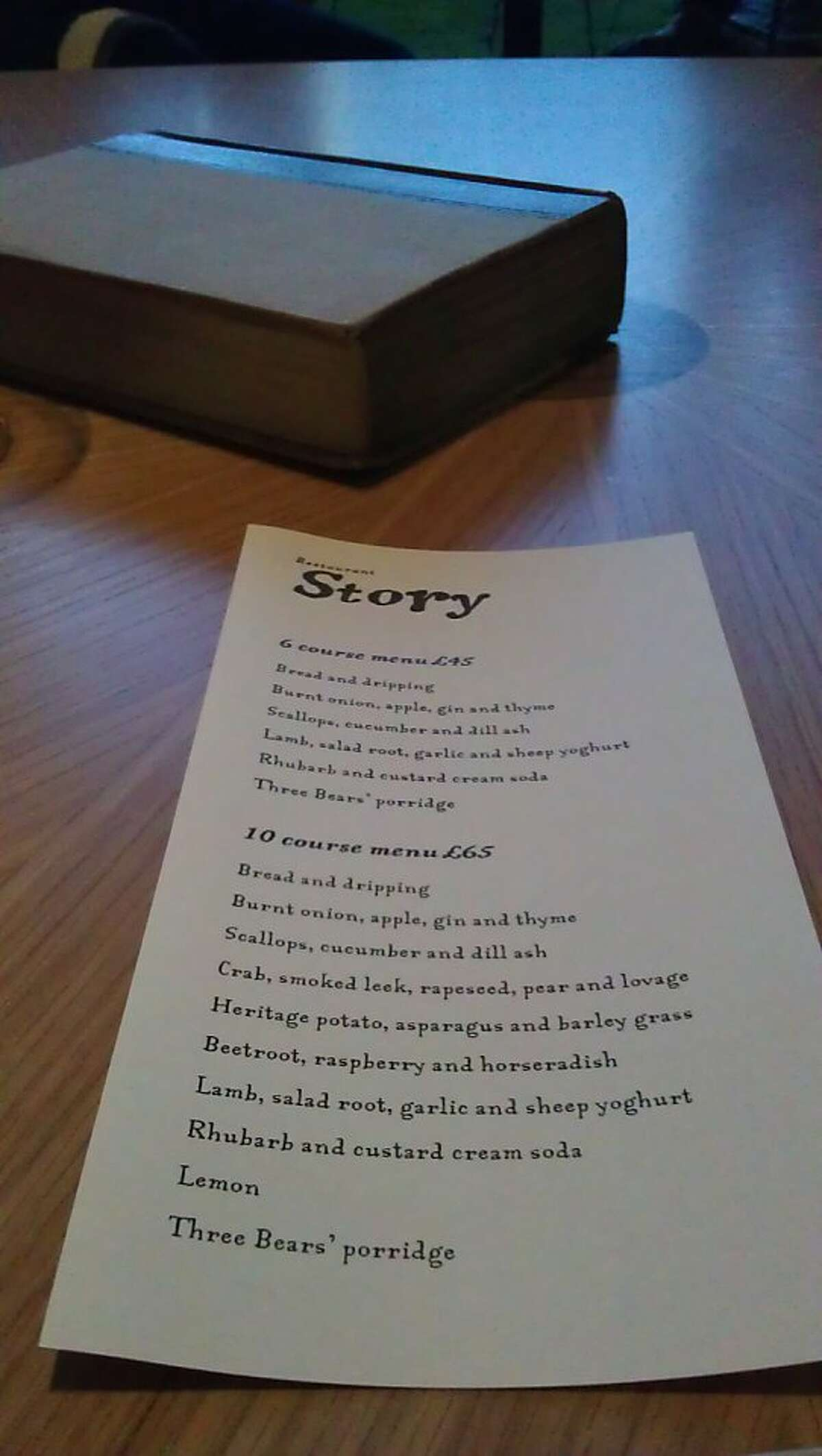 A menu at the restaurant Story, near the Tower Bridge in London. The city's top restaurants are beginning to feature more small-production California wines.