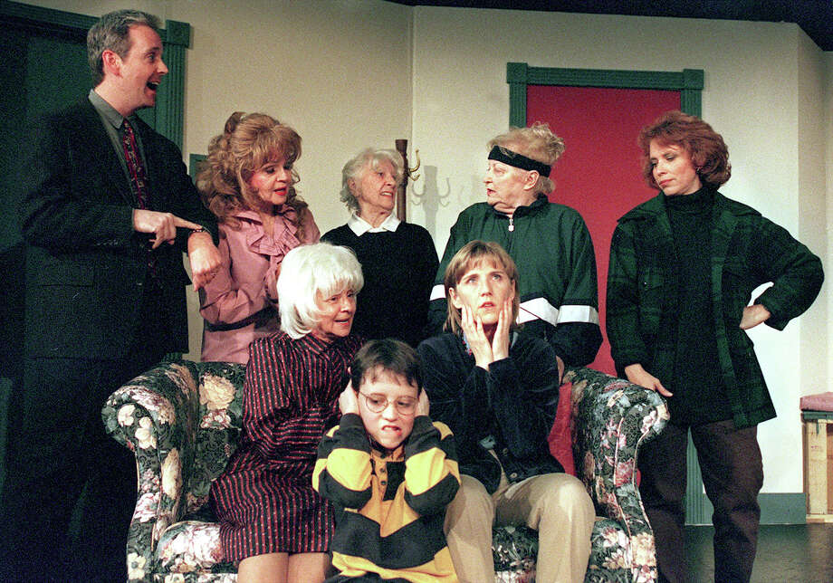 "Gary Hoeffeler as Bill, (from left back row to front) Mary Denman as Mrs. Petrelli, Alice Finney as Mrs. Davis, Flo Jowdy as Mrs. Feldman, Sharon Beals as Marsha, Sandy Schwartz as Molly, Terry Marshall-Shrader as Kate, and Austin Bonilla as Jeff, during a scene from ""Little Old Ladies in Tennis Shoes"" in 1999. Photo: EDWARD A. ORNELAS"