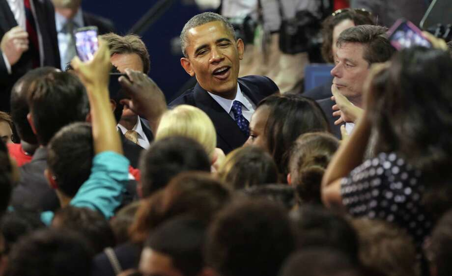 President Barack Obama greets students and teachers after speaking about the importance of technical education on Thursday May 9, 2013 at Manor New Tech High School, in Manor, TX. Photo: Bob Owen, San Antonio Express-News / ©2013 San Antonio Express-News
