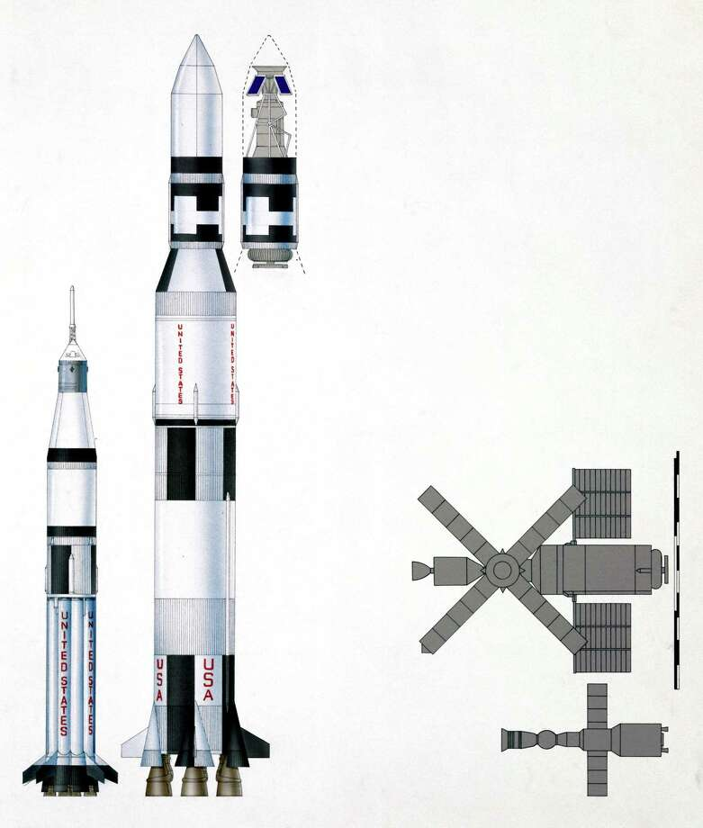 This diagram shows the Saturn V used to launch Skylab, a smaller Saturn 1B used to launch its first crew and a cut-away section of Saturn V's stage 3, used for the station. Photo: Science & Society Picture Librar, SSPL Via Getty Images / Please read our licence terms. All digital images must be destroyed unless otherwise agreed in writing.