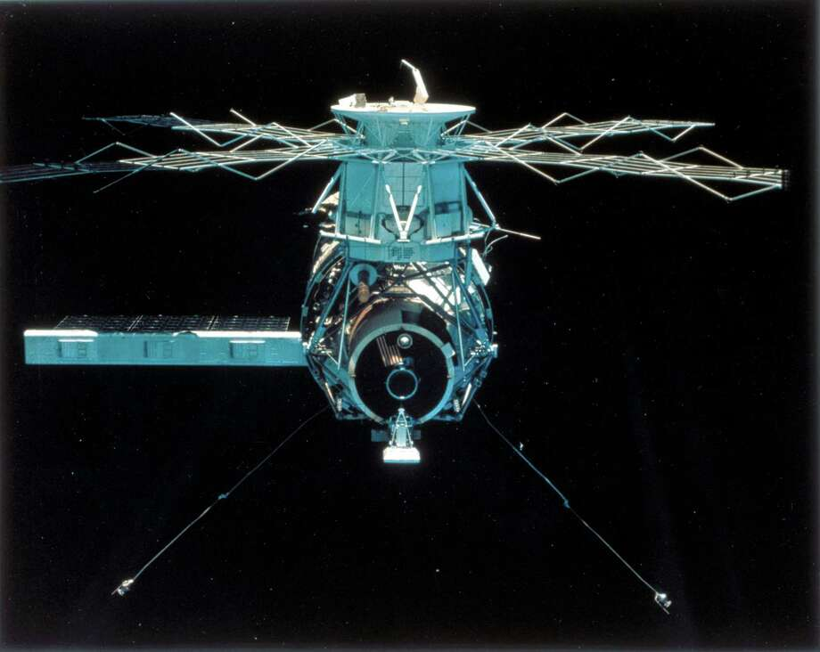 "This picture of Skylab was taken at the end of the third and final mission. After the mission, flight controllers vented the atmosphere, oriented the station in a stable attitude with the docking adapter pointed away from the Earth and shut down most of its systems, W. David Compton and Charles D. Benson wrote in a NASA history of the station. ""With one control moment gyro inoperative and another ailing, with two coolant loops behaving erratically and several of the power-supply modules approaching the end of their expected life spans, the $2.5-billion orbiting laboratory was junk."" Photo: Science & Society Picture Librar, SSPL Via Getty Images / Please read our licence terms. All digital images must be destroyed unless otherwise agreed in writing."