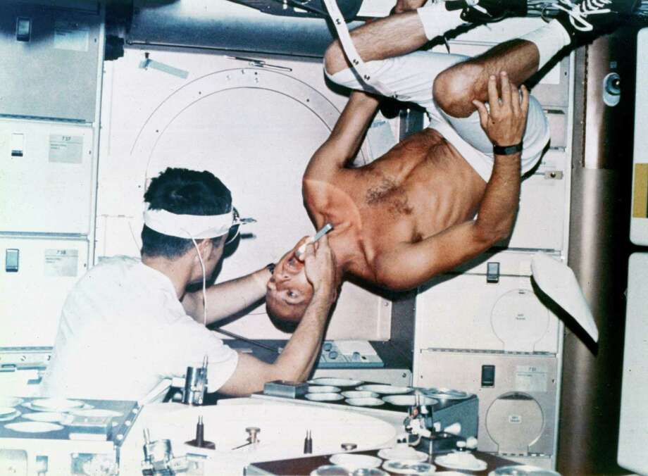 Here, astronaut Joseph Kerwin examines Charles Conrad during the first crewed Skylab mission. Photo: Science & Society Picture Librar, SSPL Via Getty Images / Please read our licence terms. All digital images must be destroyed unless otherwise agreed in writing.