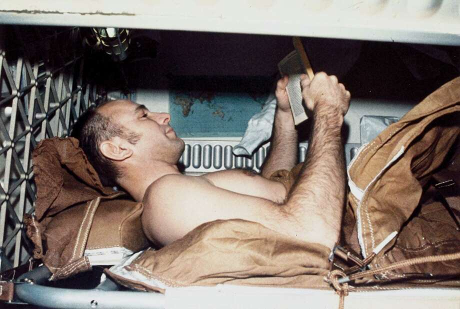 Commander Alan  Bean rests in a sleep restraint during the second crewed Skylab mission. Photo: Science & Society Picture Librar, SSPL Via Getty Images / Please read our licence terms. All digital images must be destroyed unless otherwise agreed in writing.