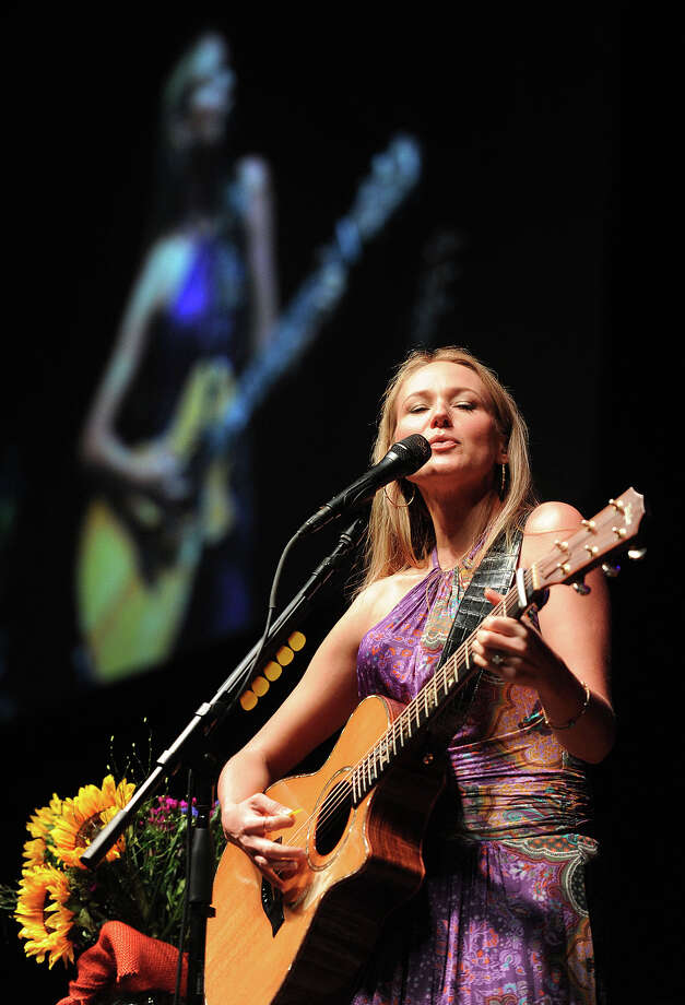 Singer songwriter Jewel performs at Ford Park Thursday during the Christus LiveWell Conference. Along with musical performances, Jewel spoke to the audience of largely women about her time spent homeless and her life's difficulties before she became a lyrical superstar.  Photo taken Thursday, May 09, 2013 Guiseppe Barranco/The Enterprise