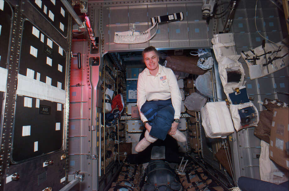 Ultimately, 11 space shuttle missions went to Mir, and seven astronauts lived aboard the station. Here, astronaut Shannon W. Lucid hangs out in Mir on September 24, 1996. Lucid, the first American woman to stay on Mir, spent 188 days in orbit, with six weeks added because of an unexpected delay. That was the longest duration of any American on Mir and the longest stay in space for any woman until Suni Williams set a new record in 2006.  Photo: NASA, Getty Images / Getty Images North America