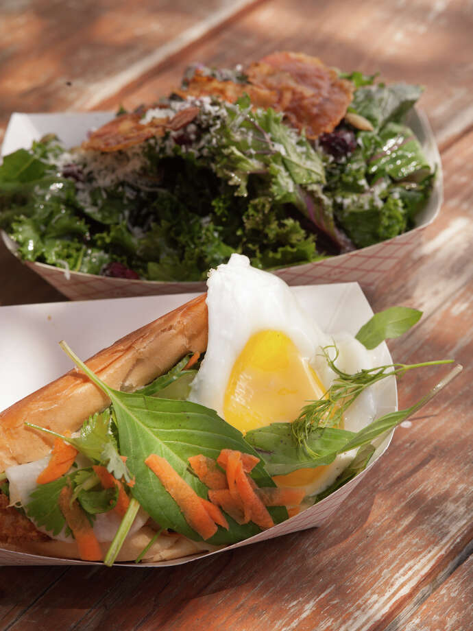 The Crispy Fish Banh Mi sandwich with Kale salad from The Luxury. Photo: Robin Jerstad