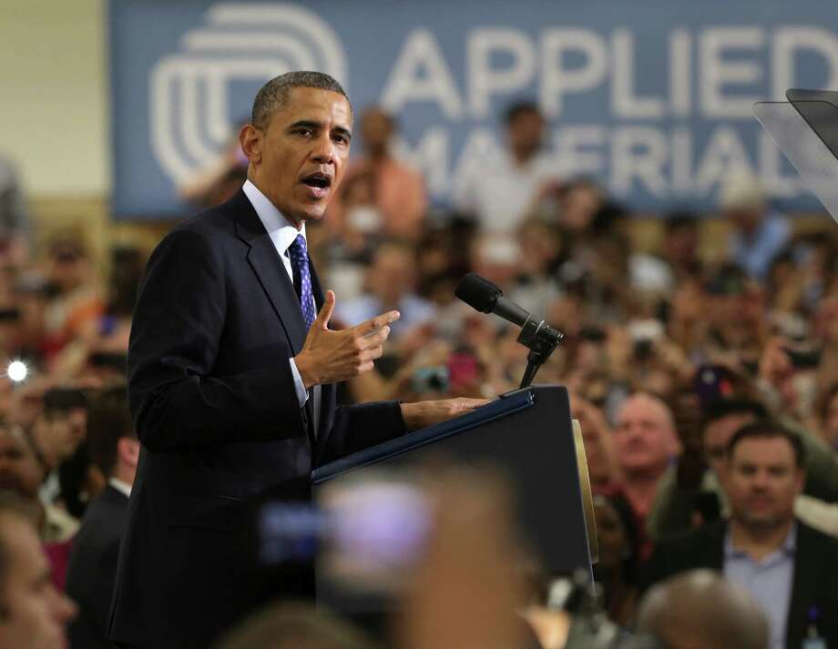 President Barack Obama speaks on Thursday May 9, 2013 at Applied Materials in Austin, TX, stressing the importance of high technology education. Photo: Bob Owen, San Antonio Express-News / ©2013 San Antonio Express-News
