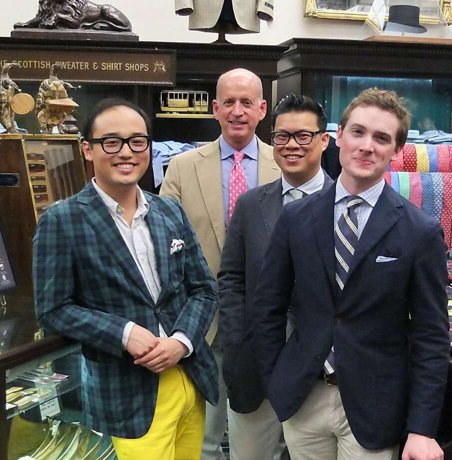 Menswear bloggers Edwin Zee, Gus Walbolt (A Bit of Color), Jason Chang (Broke and Bespoke) and Ian Anderson (From Squalor to Baller) meet up at Cable Car Clothiers in San Francisco for a Styleforum members event. Photo: Courtesy Of Chelsea Larsson
