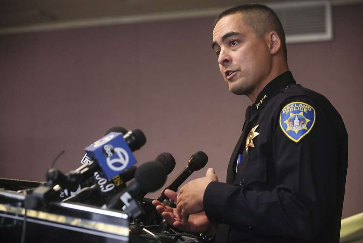 Acting police Chief Anthony Toribio speaks during a press conference held to discuss the release of the Oakland Crime Reduction Project Bratton Group Findings and Recommendations in Oakland , Calif., Thursday, May 9, 2013.