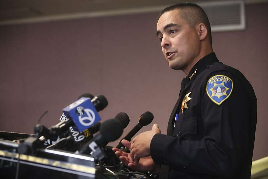 FILE — Acting police Chief Anthony Toribio speaks during a press conference held to discuss the release of the Oakland Crime Reduction Project Bratton Group Findings and Recommendations in Oakland , Calif., Thursday, May 9, 2013. Photo: Sam Wolson, Special To The Chronicle