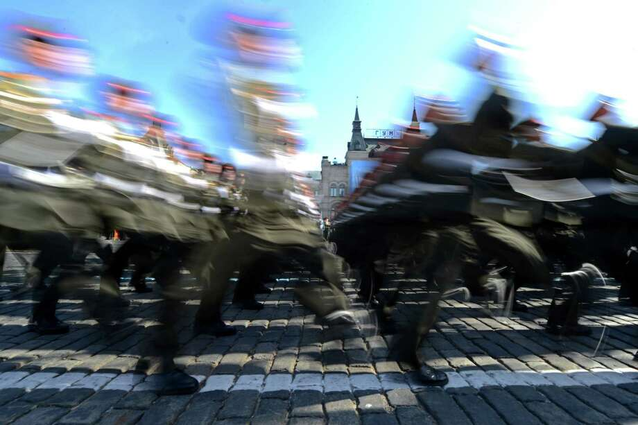 Russian soldiers march at the Red Square in Moscow, on May 9, 2013, during Victory Day parade. Fighter jets screamed over Red Square and heavy tanks rumbled over its cobblestones as Russia flexed today its military muscle on the anniversary of its costly victory over Nazi Germany in World War II. Photo: KIRILL KUDRYAVTSEV, AFP/Getty Images / AFP