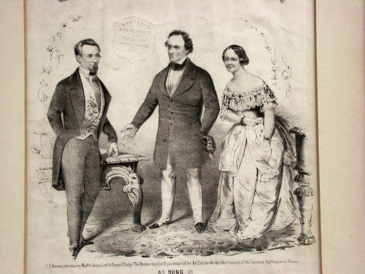The lovely Swedish Jenny Lind, who took America by storm in 1850, is shown with P.T. Barnum, center, during a drawing for the first ticket for Lind's concert tour. The drawing is courtesy of Bridgeport's Barnum Museum.