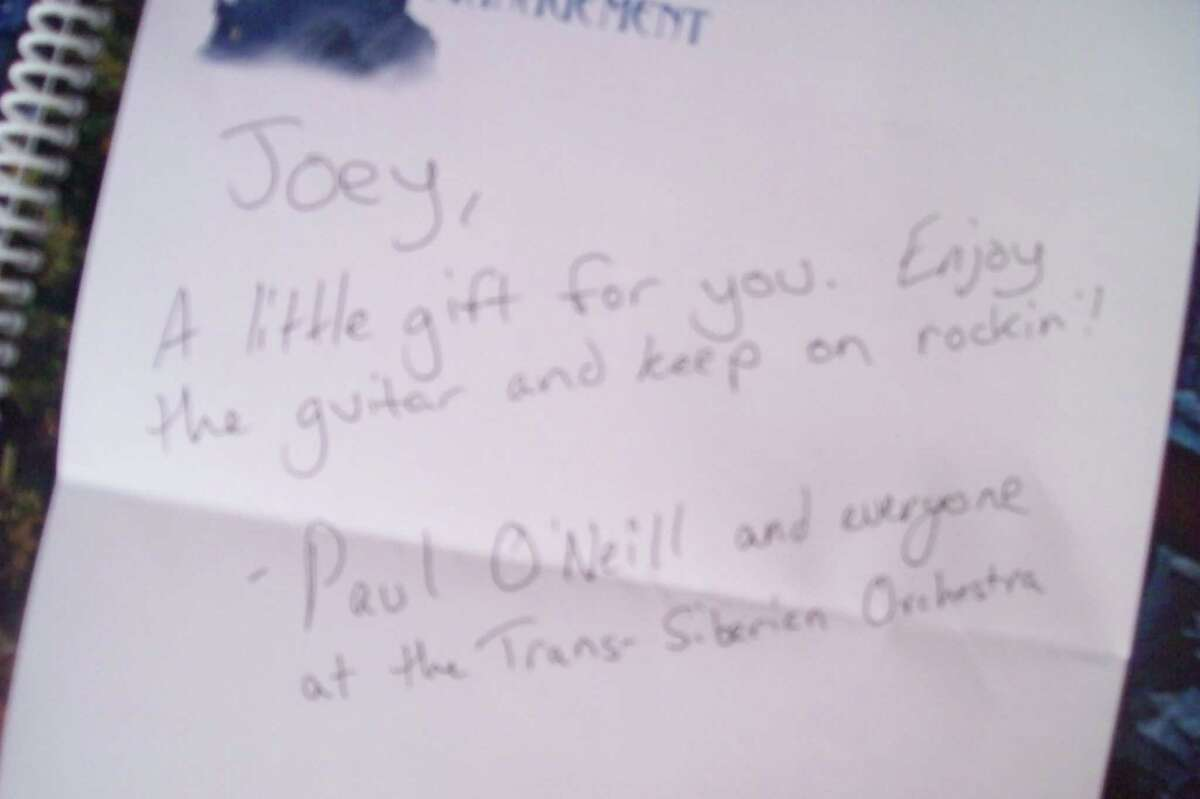 A note from the Trans-Siberian Orchestra to Joey Pettinato. Joey has Tourette syndrome and is home-schooled because of the taunts from his classmates, but is at ease when he plays guitar. (Picture courtesty of Roger Pettinato).