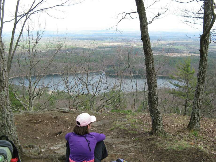 Photo by Herb Terns. Looking east from the Palmertown Range over Moreau Lake State Park.