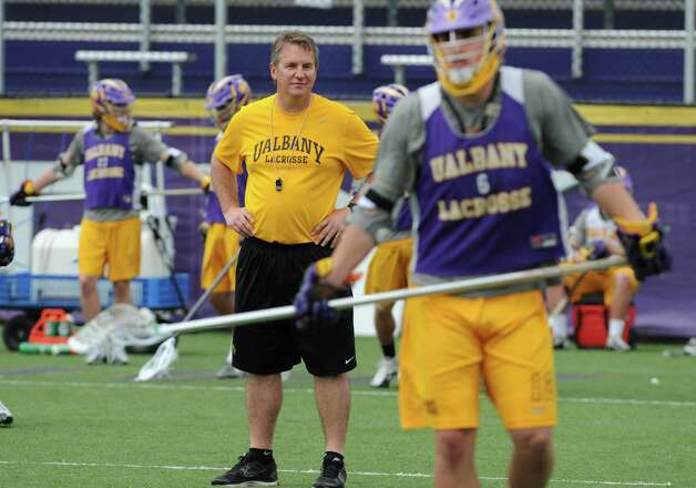 UAlbany men's lacrosse coach Scott Marr watches his players during practice on Thursday, May 9, 2013 in Albany, N.Y. (Lori Van Buren / Times Union) Photo: Lori Van Buren / 00022358A