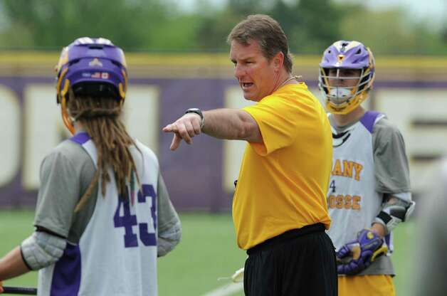 UAlbany men's lacrosse coach Scott Marr talks with his players during practice on Thursday, May 9, 2013 in Albany, N.Y. (Lori Van Buren / Times Union) Photo: Lori Van Buren / 00022358A
