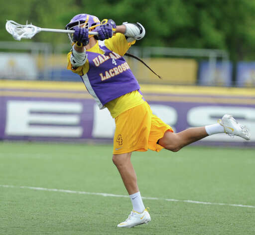 Lyle Thompson takes a shot at the net during UAlbany men's lacrosse practice on Thursday, May 9, 2013 in Albany, N.Y. (Lori Van Buren / Times Union) Photo: Lori Van Buren / 00022358A