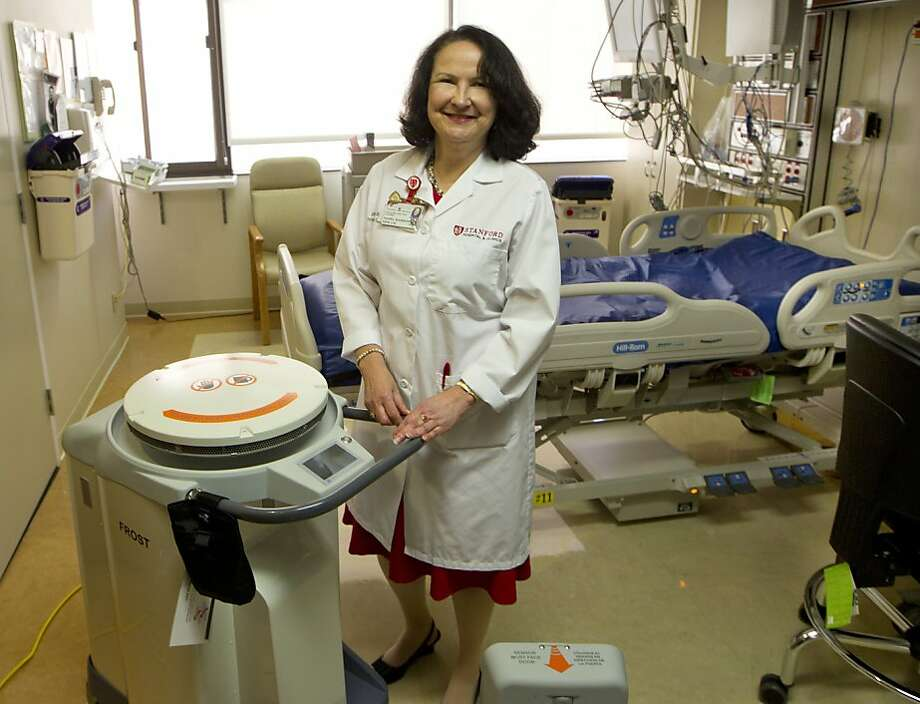 Sasha Madison R.N. Manager infection Control with the Xenex machine at the Stanford Hospital and Clinics on Monday, April 29, 2013. ( Norbert von der Groeben / Stanford Hospital and Clinics ) Photo: Norbert Von Der Groeben, Stanford Hospital And Clinics