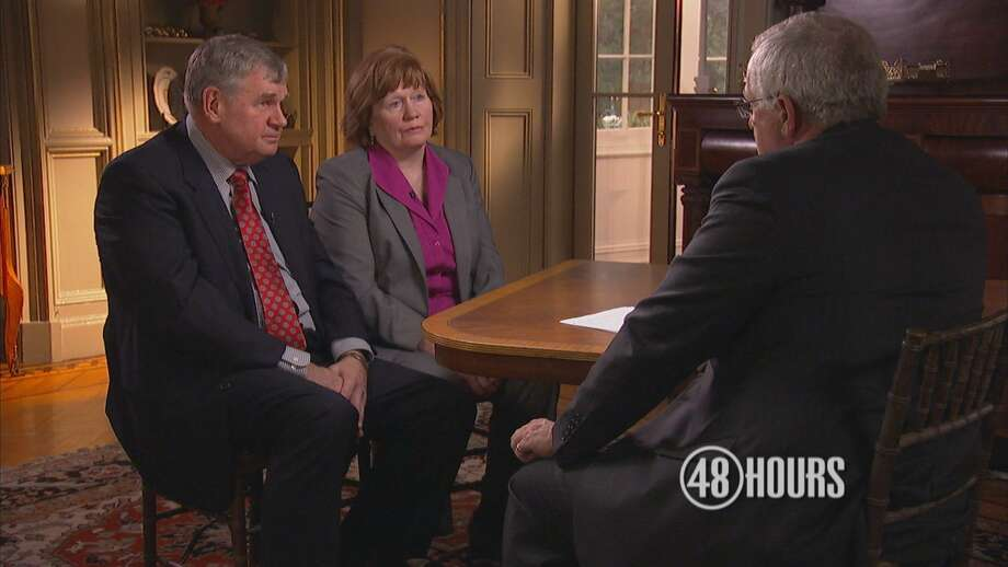 CBS News Senior Correspondent John Miller speaks with the parents of George Allen Smith IV during an episode of  48 Hours: Murder at Sea?  which will air 10 p.m. Saturday on CBS.  Smith, of Greenwich, disappeared from a cruise ship while on his honeymoon nearly eight years ago. A lawyer for the family says the show will reveal new evidence in the unsolved case. Photo: CBS News