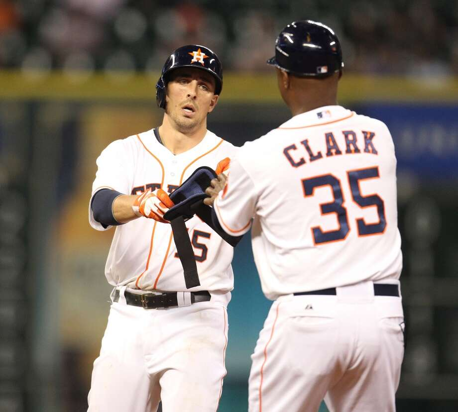 Astros catcher Jason Castro (15) after his double. Photo: Karen Warren, Houston Chronicle