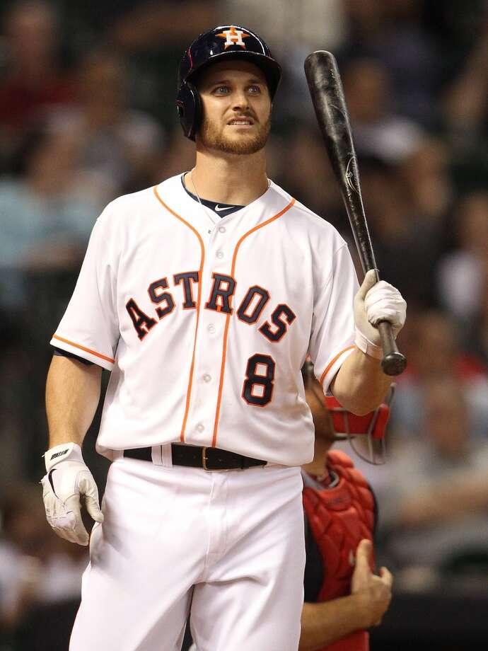 Astros Trevor Crowe (8) at bat during the seventh inning. Photo: Karen Warren, Houston Chronicle