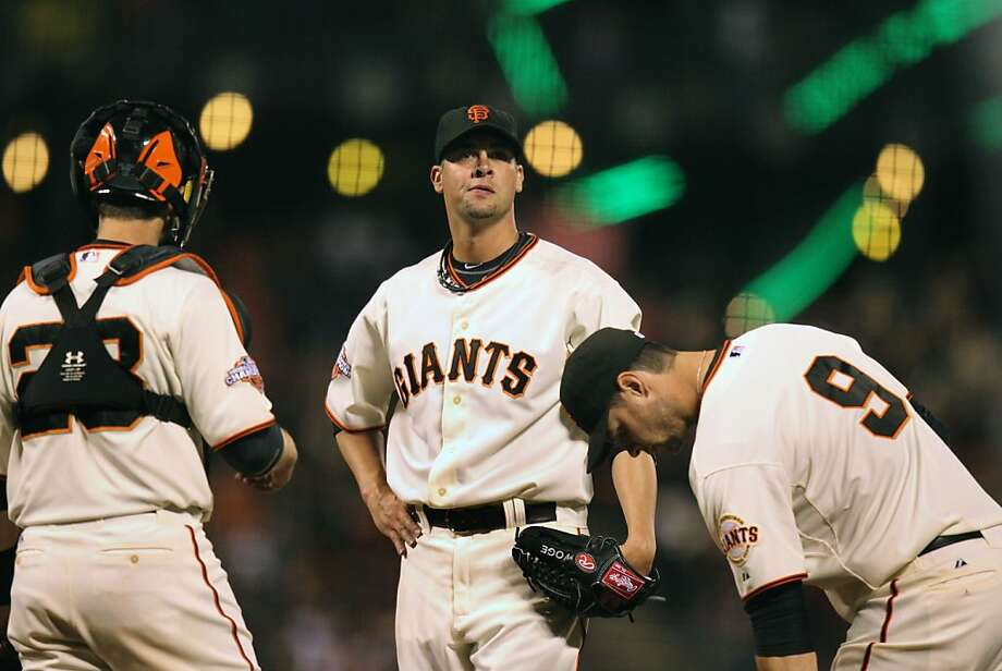 Giants pitcher Ryan Vogelsong (center) struggled before being injured; the rest of the team is foundering. Photo: Lance Iversen, The Chronicle
