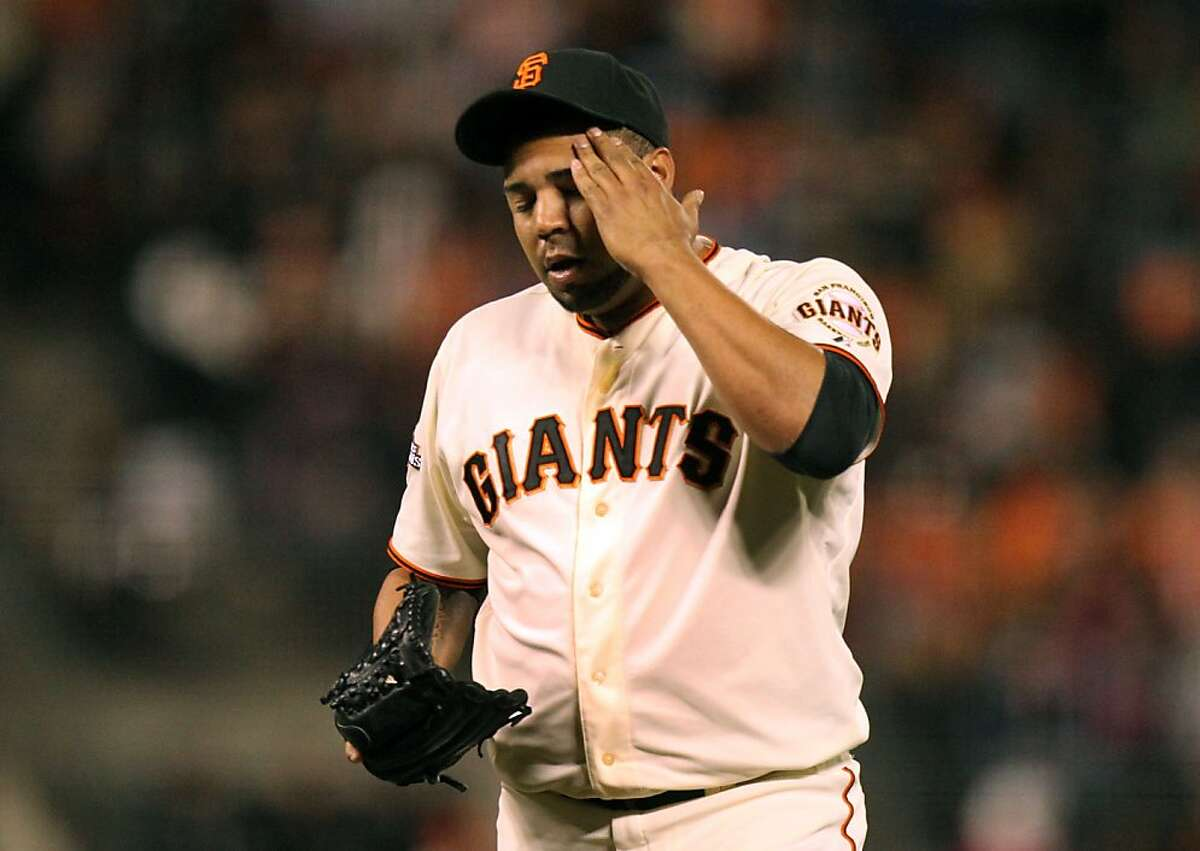 San Francisco Giants pitcher Jose Mijares (50 reacts after giving up a hit in the 5th inning of their MLB baseball game with the Atlanta Braves Thursday, May 9, 2013 in San Francisco, Calif.