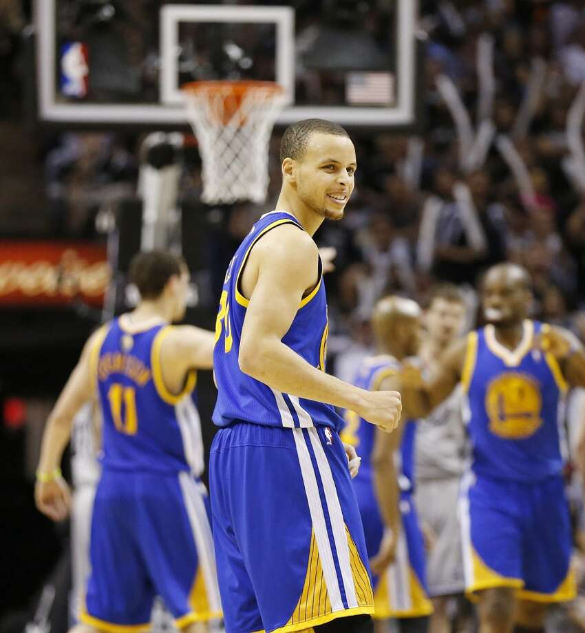 The Warriors' Stephen Curry reacts after a play during second half action of Game 2 in the NBA Western Conference semifinals against the San Antonio Spurs Wednesday May 8, 2013 at the AT&T Center. The Warriors won 100-91.