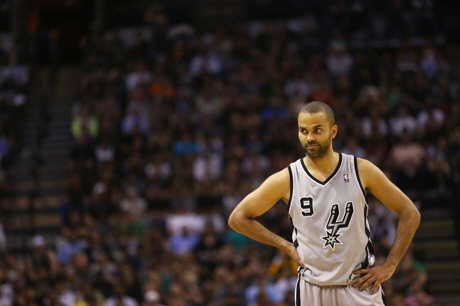 Tony Parker 9 of the Spurs during Game 2 of the Western Conference Semifinals of the 2013 NBA Playoffs at AT&T Center on May 8, 2013.