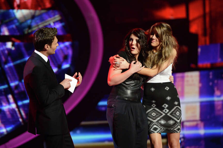 AMERICAN IDOL: Kree Harrison advances to the finals on AMERICAN IDOL Thursday, May 9 (8:00-9:00 PM ET/PT) on FOX. L-R: Ryan Seacrest, Kree Harrison and Angie Miller. CR: Michael Becker / FOX. Copyright: FOX.