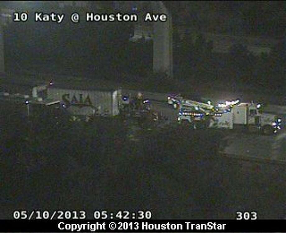 A big-rig wreck caused traffic problems on the westbound Katy Freeway near downtown early Friday morning. Photo: Houston Transtar