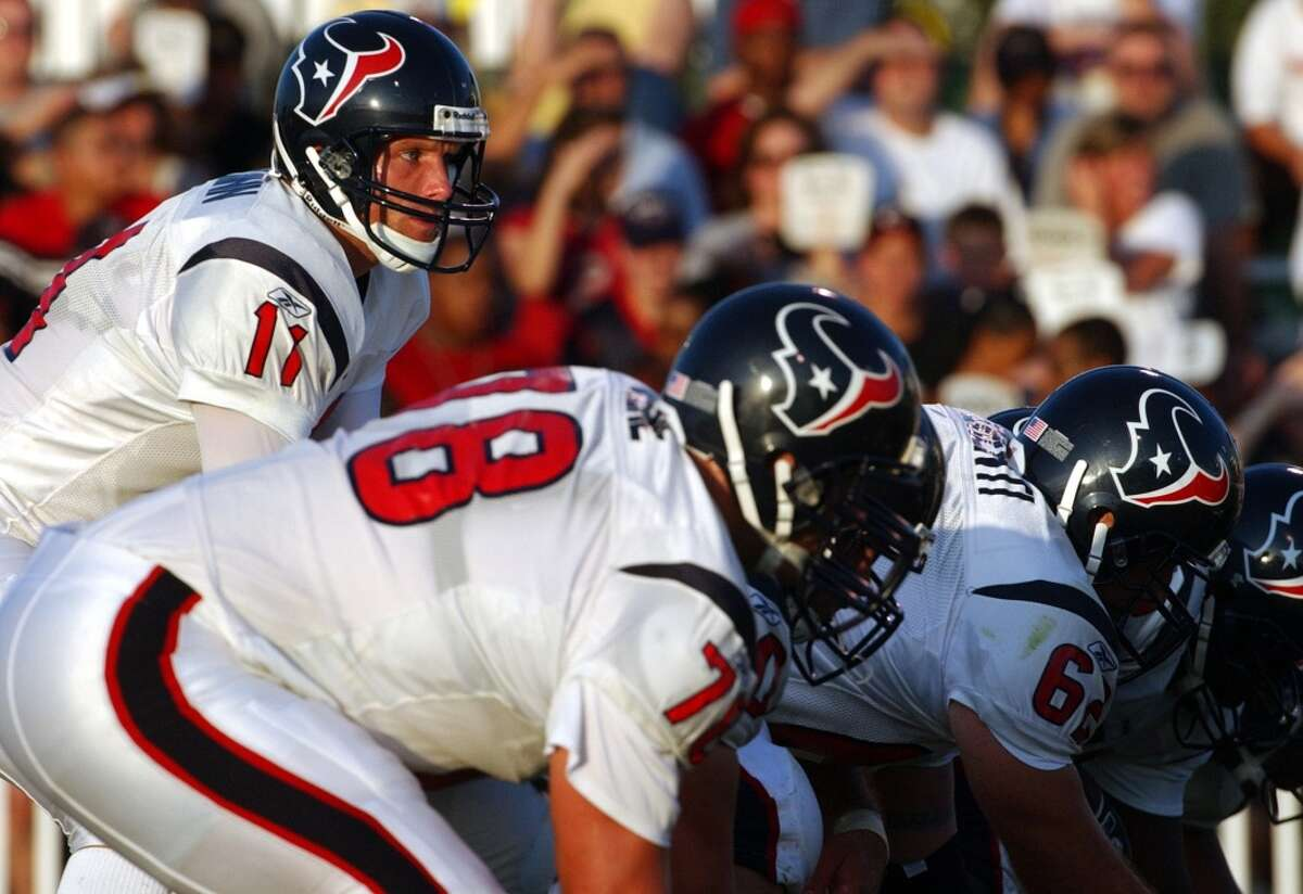 Mike Quinn The first QB ever signed by the team, Quinn served as one of David Carr's backups in 2002 but never played. He signed with the Broncos in 2004 and finished his playing career with the CFL's Winnipeg Blue Bombers.