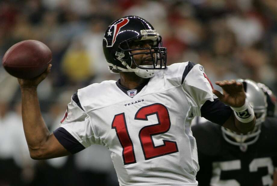 Tony BanksServing as David Carr's backup for four seasons (2002-2005), Banks only started in three games (with a 2-1 record) but appeared in 15. He had six touchdowns and five interceptions. Finishing his career in Houston, the Michigan State alum also played for the Rams, Ravens, Cowboys and Redskins. In his first start as a Texan, Banks led the Texans to a 14-10 victory over the Carolina Panthers in 2003. The Panthers ended up losing to the Patriots in the Super Bowl this season. Banks posted a mistake-free game, going 13 for 19 for 154 yards, 1 TD and 0 INTs. Photo: Steve Ueckert , Chronicle