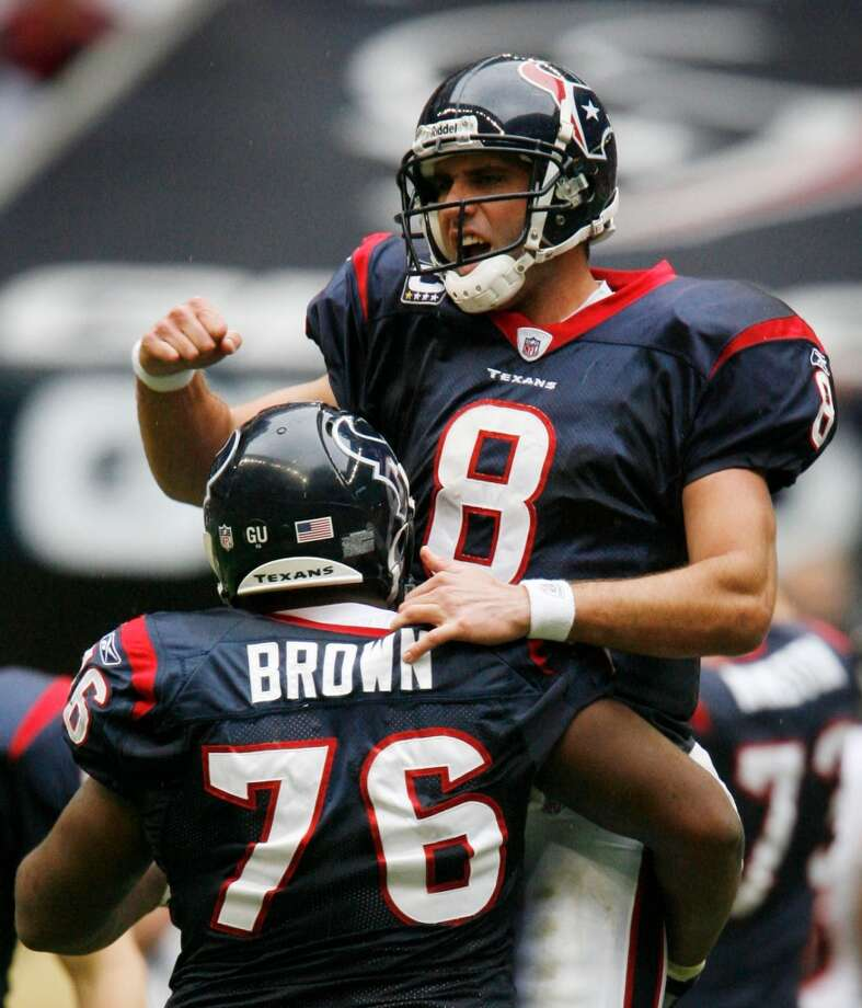 Matt SchaubTraded from the Falcons to the Texans for two second round picks in March 2007, Schaub posted a 46-44 record in his seven seasons with the Texans. The Virginia product was traded to the Raiders in March 2014 for a sixth-round draft pick. Schaub's first start for the Texans (Week 1 of 2007 season) was a success as the Texans rolled to a 20-3 drubbing of the Kansas City Chiefs. Schaub went 16 of 22 for 225 yards with a TD and an INT. Schaub is currently a backup for the Baltimore Ravens. Photo: Karen Warren , Chronicle