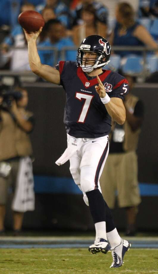 Case Keenum  Keenum was signed as an undrafted free agent after the 2012 draft. The decorated UH star started eight games (0-8 record) during the 2013 season. The Texans released Keenum just a week before the start of the 2014 season. In Keenum's first start as a Texan, a 17-16 loss to the Chiefs in 2013, he completed 15 of his 25 passes for 271 yards, including a 29-yard touchdown to Deandre Hopkins. Keenum didn't throw a interception, but he did have a costly fumble on what turned out to be the Texans final possession. Keenum is currently the St. Louis Rams' backup quarterback. Photo: Brett Coomer , Chronicle