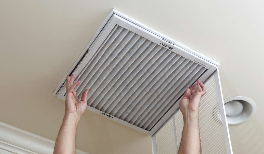 Change filters regularly on the air-conditioning and heating unit.