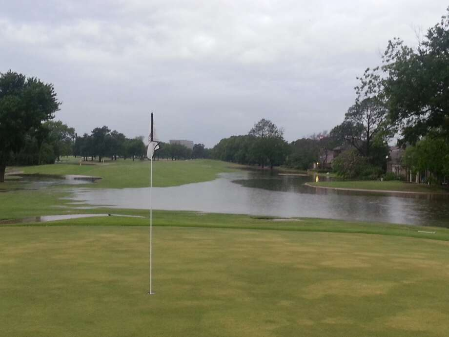 The flooded No. 1 hole on the Robert course at Sugar Creek Country Club.