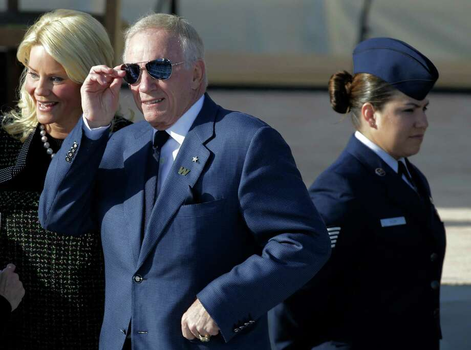 A reader blames Dallas Cowboys owner and general manager Jerry Jones, shown here during the recent dedication of the George W. Bush Presidential Center in Dallas, for the sad decline of a once proud NFL franchise. Photo: David J. Phillip, Associated Press / AP