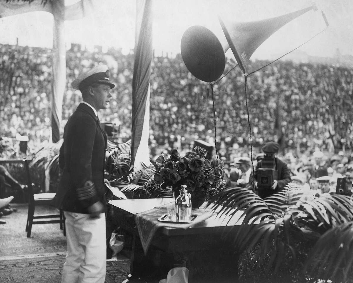 1920: Edward, Prince of Wales making a speech at San Diego during a royal visit to America.