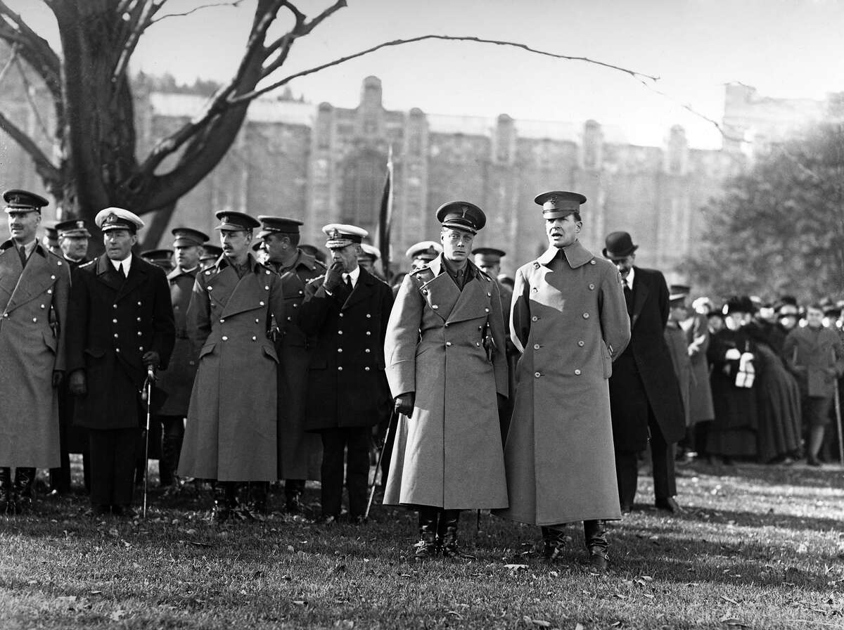 1925: The Prince of Wales, later King Edward VIII and Duke of Windsor, visits the West Point Military Academy, New York State, accompanied by Brigadier General Douglas MacArthur.