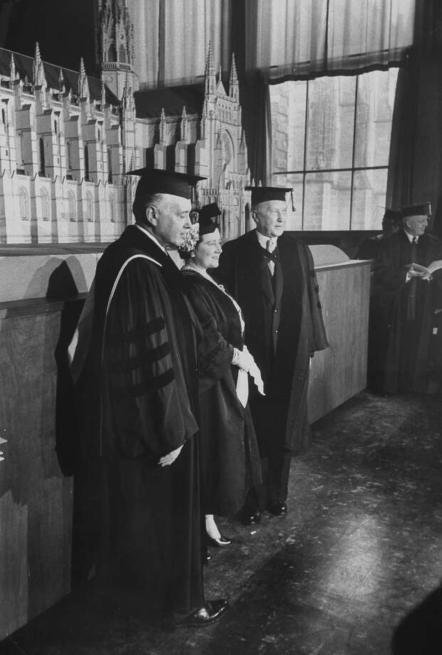 1954: (L-R) West German Chancellor Konrad Adenauer, Queen Elizabeth, and Pres. of Columbia Univ. Grason L. Kirkfull length fuzzy in mortar-board & robes at Columbia ceremony standing with Queen Mother Eliz. & Grayson Kirk, during HMs visit to US. Photo: Yale Joel, Time & Life Pictures/Getty Image / Time Life Pictures