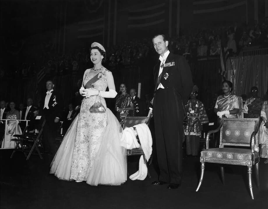 1957: Queen Elizabeth and Prince Philip at the Commonwealth Ball at the 77th Regiment Armory, New York. The ball was held in their honor at the end of their visit to the United States. Photo: Keystone, Getty Images / 2007 Getty Images