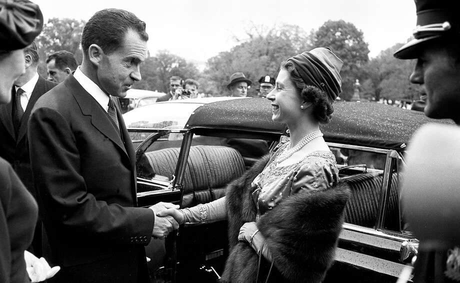 1957: American Vice President Richard M. Nixon greets Queen Elizabeth II of the United Kingdom outside the US Capitol during her State Visit to Washington. Photo: Robert Lerner, Getty Images / Hulton Archive