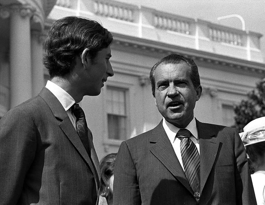1970: Prince Charles meets the President of the United States of America Richard Nixon on the White House lawns during a private visit. Photo: Popperfoto, Popperfoto/Getty Images / Popperfoto
