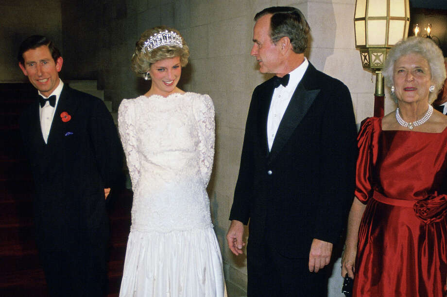 1985: Prince Charles, the Prince of Wales and Princess Diana, the Princess of Wales meet Vice-President George Bush and Barbara Bush at the British Ambassador's Residence. Photo: Tim Graham, Getty Images / 2005 Tim Graham