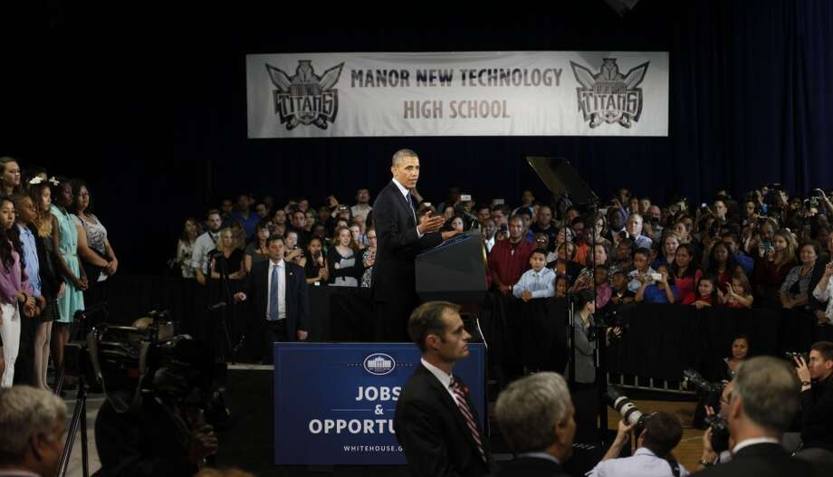 President Barack Obama speaks during his visit to Manor New Technology High School, Thursday, May 9, 2013 in Manor, Texas. (AP Photo/Pablo Martinez Monsivais)
